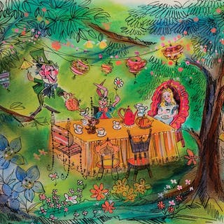 Alice in Wonderland 'Tea Party' concept painting for Disneyland Attraction.