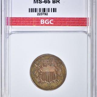 1864 SMALL MOTTO 2 CENT PIECE BGC GEM BU BR