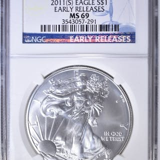 2011-(S) SILVER EAGLE, NGC MS-69 EARLY RELEASES