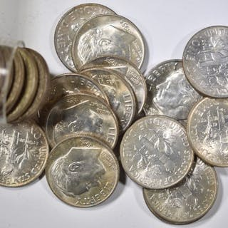 BU ROLL OF 1953-D ROOSEVELT DIMES