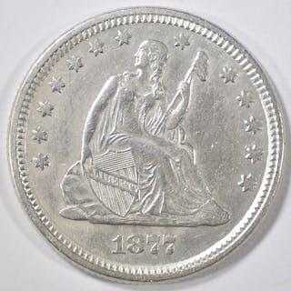 1877 SEATED LIBERTY QUARTER AU/BU