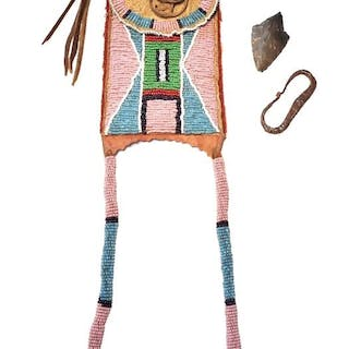 Crow Beaded Strike-A-Lite Bag c. 1870-1880