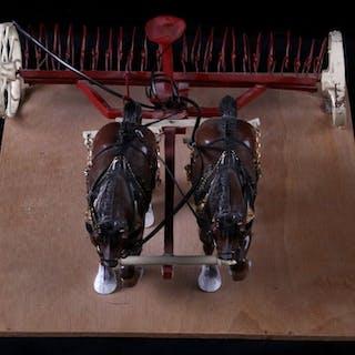 Toy Draft Horses & Plow Figurine