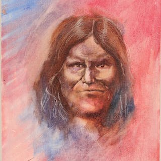 """Oil Painting / Native American/ """" Geronimo"""". #102142"""