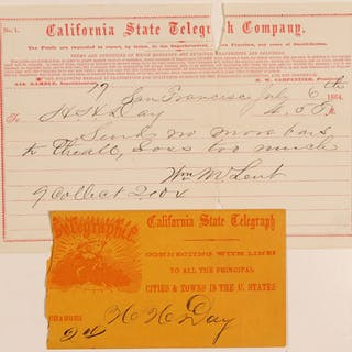 California State Telegraph Company from William Lent to HH Day #102253