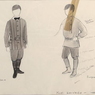 Children (2) costume sketches by Phyllis Dalton for Doctor Zhivago.