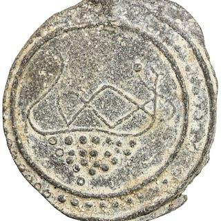 TENASSERIM-PEGU: Anonymous, 17th-18th century, cast large tin coin (37.47g). EF