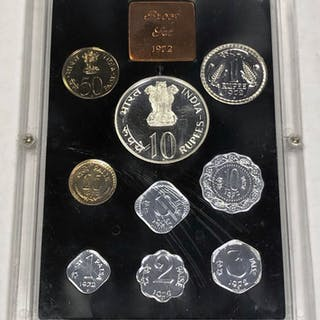 INDIA: Republic, 9-coin proof set, 1972-B