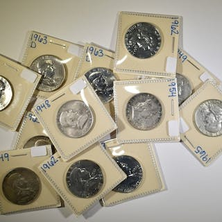 FRANKLIN HALF DOLLAR LOT 12 COINS, 4 ARE PROOF