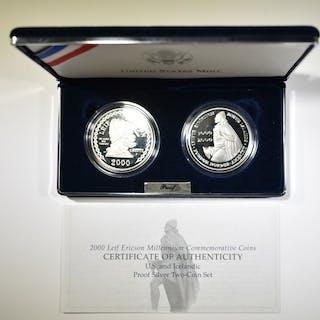 2000 LEIF ERICSON & ICELAND 1000 KR 2-COIN SET