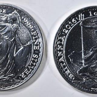 2-2016 BRITISH BRITANNIA ONE OUNCE SILVER COINS