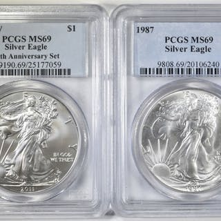 2 PCGS GRADED AMERICAN SILVER EAGLES:
