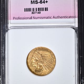 1913 $5.00 GOLD INDIAN, PNA CH+/GEM BU NICE!