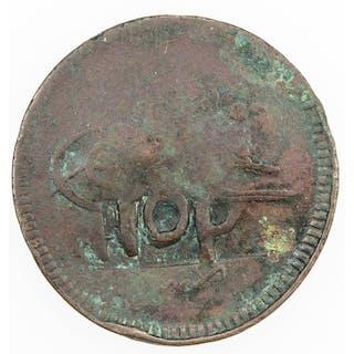 COUNTERMARKED COINS: TURKEY: AE 10 para, ND. VF-EF
