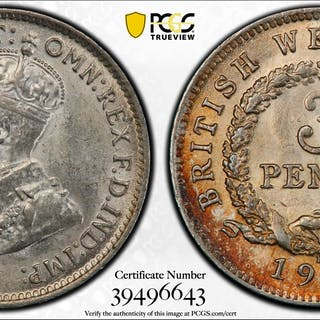 BRITISH WEST AFRICA: George V, 1910-1936, AR 3 pence, 1913-H. PCGS MS63