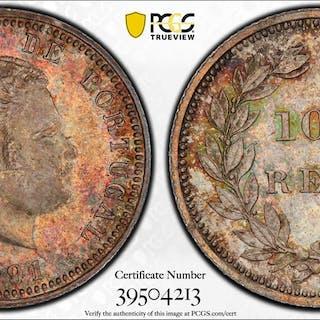 PORTUGAL: Carlos I, 1889-1908, AR 100 reis, 1891. PCGS MS64