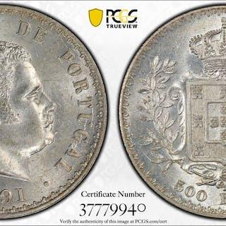 PORTUGAL: Carlos I, 1889-1908, AR 500 reis, 1891. PCGS MS62