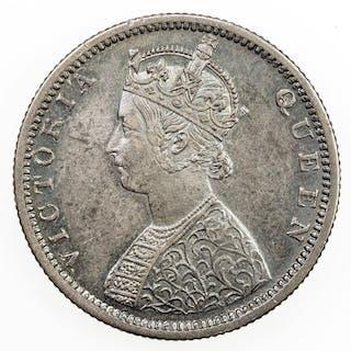 BRITISH INDIA: Victoria, Queen, 1837-1876, AR 1/2 rupee, 1862(b). EF-AU