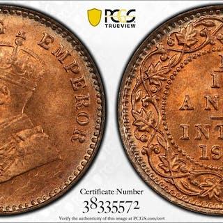 BRITISH INDIA: George V, 1910-1936, AE 1/12 anna, 1915(c). PCGS MS66+ Red