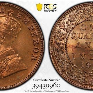 BRITISH INDIA: George V, 1910-1936, AE 1/4 anna, 1927(b). PCGS MS66 RB