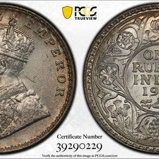 BRITISH INDIA: George V, 1910-1917, AR rupee, 1917(b), KM-524, PCGS