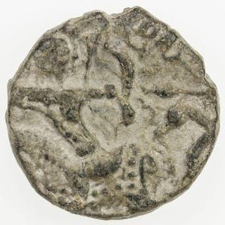 SALDUQIDS: Nasir al-Din Muhammad, 1168-1191, AE fals (4.09g), NM, AH575. VF