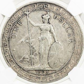 GREAT BRITAIN: AR trade dollar, 1903-B. NGC XF45