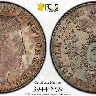 AUSTRIA: Franz Joseph, 1848-1916, AR 3 kreuzer, 1846-A. PCGS MS63