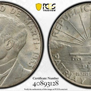 CUBA: Republic, AR peso, 1953. PCGS MS63