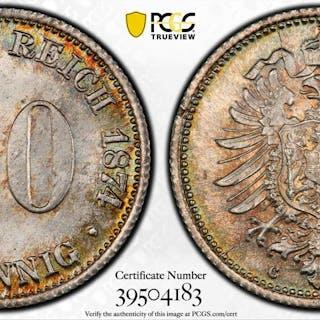 GERMANY: Kaiserreich, AR 20 pfennig, 1874-C. PCGS MS66