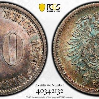 GERMANY: Kaiserreich, AR 20 pfennig, 1876-D. PCGS MS65+