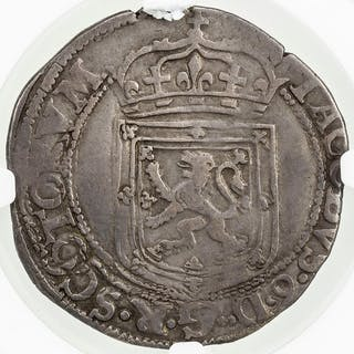 SCOTLAND: James VI, 1567-1625, AR thistle merk, 1601. NGC F12