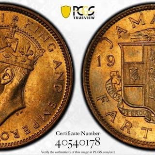 JAMAICA: George VI, 1936-1952, 1 farthing, 1942. PCGS MS65