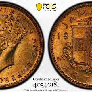 JAMAICA: George VI, 1936-1952, 1 farthing, 1947. PCGS MS66