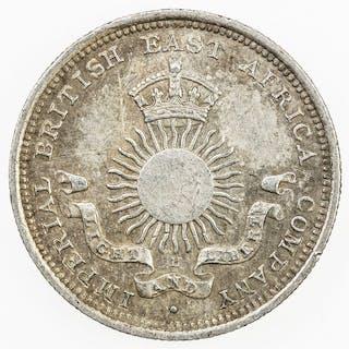 MOMBASA: British Colony, AR 1/4 rupee, 1890-H. EF