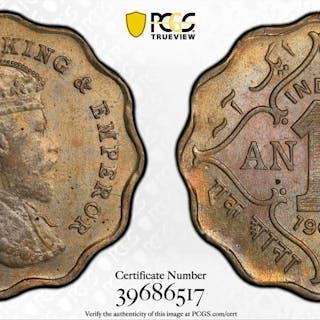 BRITISH INDIA: Edward VII, 1901-1910, 1 anna, 1907-B. PCGS MS63