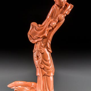 A Fine Chinese Carved Coral Meiren with Stand, late Qing Dynasty 12-1/2
