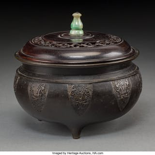 A Chinese Bronze Tripod Censer with Hardwood and Jadeite Cover, Qing