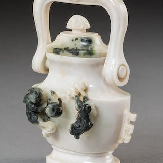 A Chinese Carved White Jade Handled Urn 4-5/8 x 3-1/2 x 1-3/4 inches