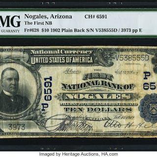 Nogales, AZ - $10 1902 Plain Back Fr. 628 The First NB Ch. # (P)6591