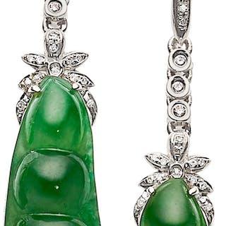Jadeite Jade Diamond White Gold Earrings Mason Kay Cur S Barnebys Co Uk
