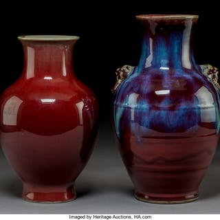 Two Chinese Flambé Glazed Porcelain Vases, Qing Dynasty  12-1/4 x