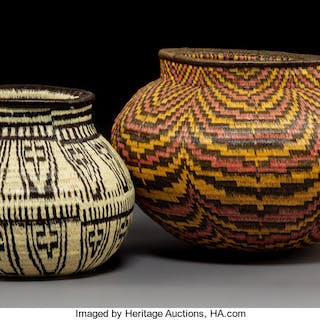 Two Panamanian Basketry Jars... (Total: 2 Items)