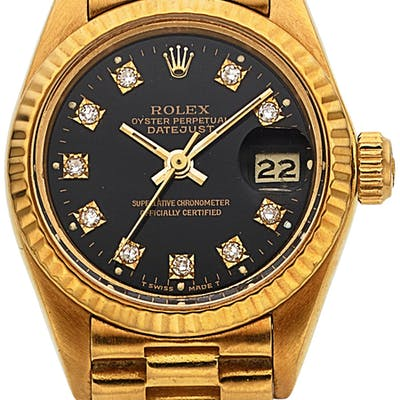 Rolex, Fine Ladies Oyster Perpetual Datejust, 18K Yellow Gold and