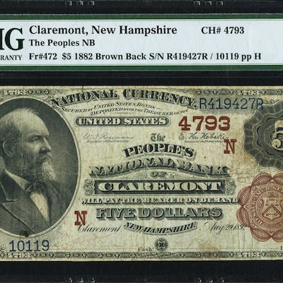 Claremont, NH - $5 1882 Brown Back Fr. 472 The Peoples NB Ch. # (N)4793