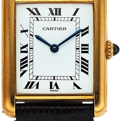 Cartier, Tank, 18K Yellow Gold, Manual Wind, Circa 1980 ...
