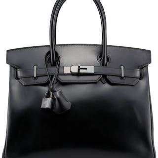 9952f9cbd2c Hermes Limited Edition 30cm So Black Calf Box Leather Birkin Bag with