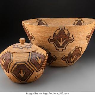 Two Yokuts Polychrome Coiled Baskets Aida Maggie Icho (Wachnomkot)
