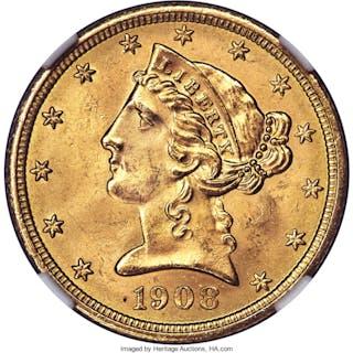 1908 $5 Liberty, MS