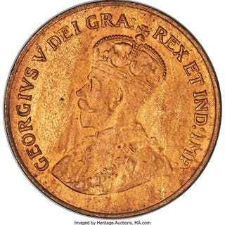 George V Cent 1921 MS64 Red and Brown PCGS,...